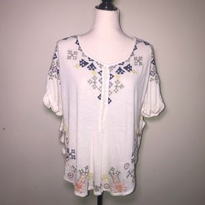 Free People XS embroidered cream top